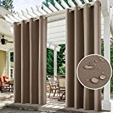 HOMEIDEAS 2 Panels Tan Outdoor Curtains for Patio Waterproof, 52 X 96 Inch Blackout Outdoor Curtains, Thermal Insulated Coffee Outdoor Patio Curtains for Porch/Pergola/Yard/Sliding Door/Arbor