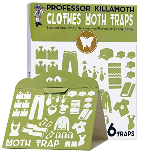 Earth's Daughter Clothes Moth Traps 6 Pack   No insecticides   Child and Pet Safe   Superior Attractant   Protect Your Clothes, Sweaters, Wool, Carpet   The Safe Moth Killer