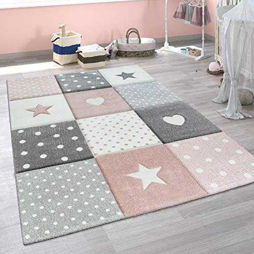 Paco Home Tappeto per Bambini A Quadri Cuori Stelle Diversi Colori e Misure, Dimensione:120x170 cm,...