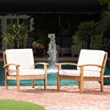 GDF Studio 299101 Preston Outdoor Wooden Club Chairs w/Beige Cushions (Set of 2)