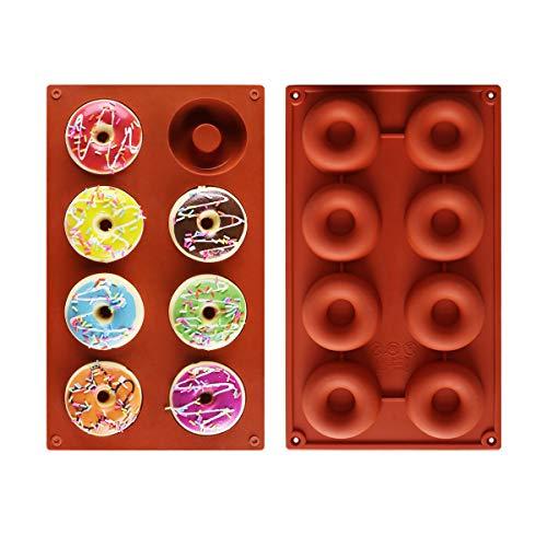 Roponan Moldes de Silicona Donut, Molde de Silicona para Hornear Donut, 8 Cavidades Antiadherentes, Adecuado para Pasteles, Galletas, Bagels, Muffins (Juego de 2)
