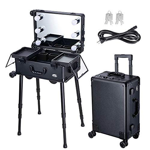 AW Rolling Makeup Case with Mirror Light 20inch Carry-on Cosmetic Storage Luggage Travel Adjustable Leg Extendable Tray