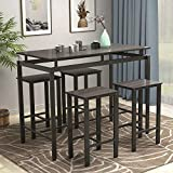 5 Piece Dining Table Set Wooden Kitchen Table and 4 Chairs with Metal Legs, Espresso