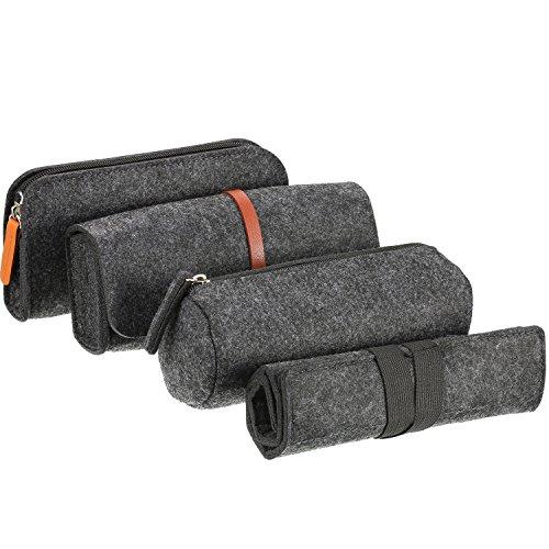 4 Stück Federmappe Stiftemappe Federmäppchen mit Verschiedenen Arten, Multifunktionale Filz Tasche Stifte Halter Kosmetiktasche Tasche (Dunkel grau)