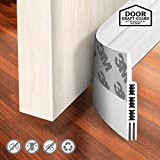 Holikme Door Draft Stopper Under Door Draft Blocker Insulator Door Sweep Weather Stripping Noise Stopper Strong Adhesive Door Molding & Trim White 39' Length