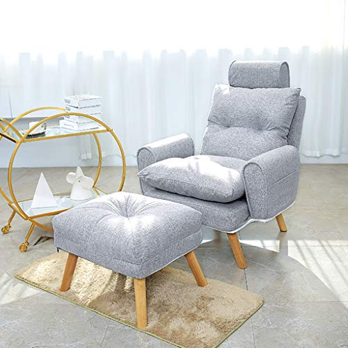 HCP Nursing Glider Sofa Stuhl & FußBank, Stillstuhl Mutterschaft Stuhl Mit Baumwoll-Leinen-Kissen Und Hoher RüCkenlehne, Praktische Armlehnentaschen Zum Liegen, Sitzen, Lehnen