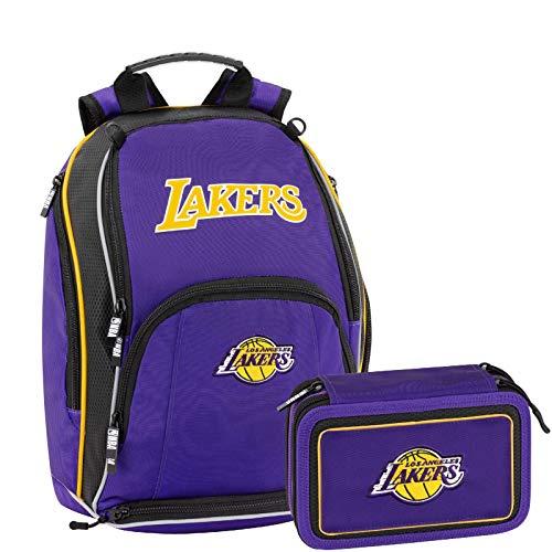 NBA Los Angeles Lakers Schoolpack Zaino Scuola Organizzato pi Astuccio 3 Zip Completo di Cancelleria