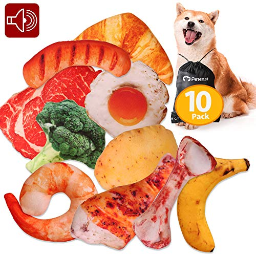 Peteast Dog Squeaky Toys, Plush Dog Toy Pack, Stuffed Puppy Chew Toys 10 Dog Toys Bulk with Squeakers, Soft Food Shape Pet Toy for Small Medium Dogs