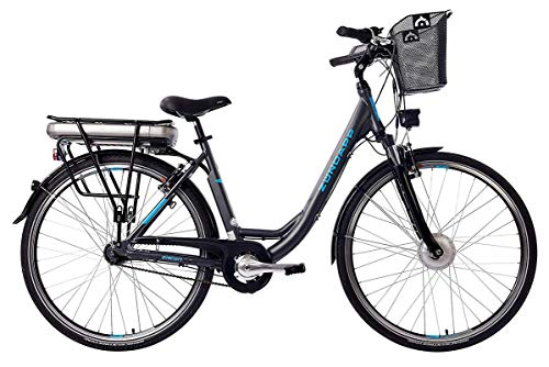 ZÜNDAPP E-Bike Damen Elektrofahrrad Alu, mit 7-Gang Shimano Nabenschaltung, Pedelec Citybike leicht mit Fahrradkorb, 250W und 13Ah, 36V Lithium-Ionen-Akku, Green 3.5