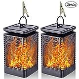 2 Pack Lampe à Flamme Solaire Eclairage Exterieur, Effect de Flamme Vacillante,...