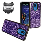 Z-GEN - for LG K40 LM-X420, LG Solo LTE L423DL - Crystal Hybrid Phone Case + Tempered Glass Screen Protector - CG3 Purple