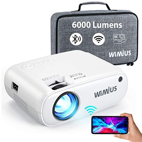 Videoprojecteur WiFi Bluetooth, W2 6000L Mini Projecteur Supporte 1080p Full HD Retroprojecteur Portable avec Fonction de 50% Zoom, Projecteur WiFi Home Cinéma Compatible iOS, Android, TV Stick,PS4