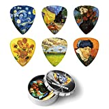 Van Gogh Guitar Picks,Medium 12 Pack & Tin Box,Celluloid Guitar Picks - Unique Guitar Gift For Bass, Electric & Acoustic Guitars.Best Gift for Men Women Guitarist (0.71mm)