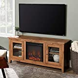 Walker Edison Furniture Company Traditional Wood Fireplace Stand for TV's up to 64' Living Room Storage, 24 Inches Tall, Barnwood