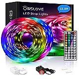 32.8ft Led Strip Lights, OSSLOVE 5050 RGB LEDs Color Changing Light Strips, Led Lights for Bedroom, Home Decoration, with IR Remote Control, DIY Mode, ETL Listed Adapter(2 Rolls of 16.4ft)