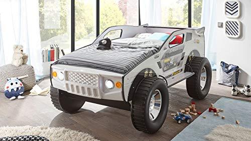 Möbel Akut Geländewagen Autobett SUV Kinderbett weiß 90x200 mit Beleuchtung