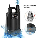 TACKLIFE Submersible Water Pump, Automatic ON/OFF, 1/3 HP 30 dB 3/4' Adapter 2550 GPH Maximum Flow, Suitable for Use in Farms/Swimming Pools/Flooded Basements/Drainage in Water Transfer Applications