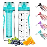 Opard Water Bottle with Time Marker, 30 oz Sports BPA Free Plastic Reusable Fruit Infuser Water Bottles with Handle, Leak Proof Flip Top Lid, Infusion Rod, Cleaning Brush and Recipe (Cyan)