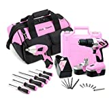 Pink Power 18V Cordless Drill Driver & Electric Screwdriver Combo Kit with Tool Bag