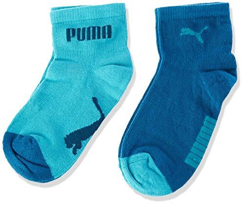 PUMA Kids' Invisible Socks (2 Pack) Calze, Verde Acqua, 27/30 Unisex-Bimbi