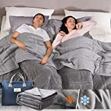 OMYSTYLE California King Size Weighted Blanket 20lbs(88''x104'', Double-Sided), Reversible Weighted Blanket with Warm Short Plush and Cool Tencel Fabric for All Season Use - Carry Bag Included