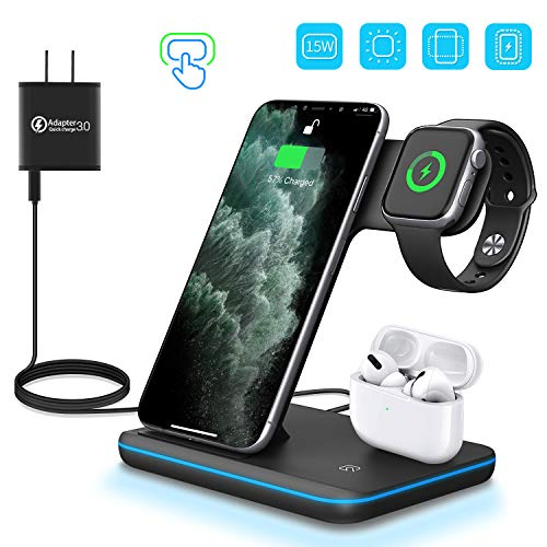 WAITIEE Wireless Charger 3 in 1 Charger Stand 15W QI Fast Charging Station for Apple iWatch Series 5/4/3/2/1,AirPods, Compatible with iPhone 11 Series/XS MAX/XR/XS/X/8/8 Plus/Samsung(Black)