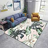 Home Area Runner Rug Pad Tropical White Orchid Flowers Green Monstera Banana Palm Leaves Pink Thickened Non Slip Mats Doormat Entry Rug Floor Carpet for Living Room Indoor Outdoor Throw Rugs