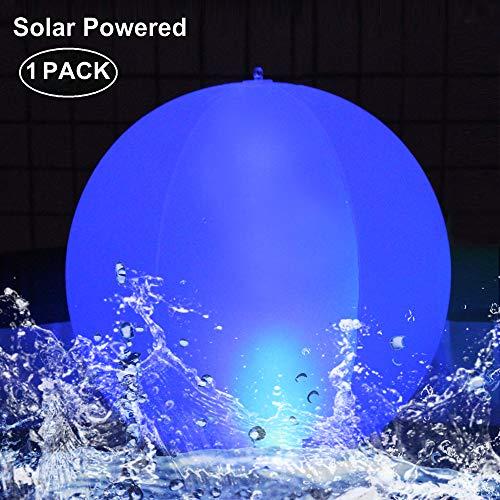 LED Solarlichter,LED Solar Kugelleuchte 14' LED Solar Ball Licht Schwimmende Pool Lichter Wasserdichte,Farbwechsel LED Nachtlicht Party Decor für Garten,Schwimmbad,Hochzeit,Strand,Hof,Rasen(1Pack)