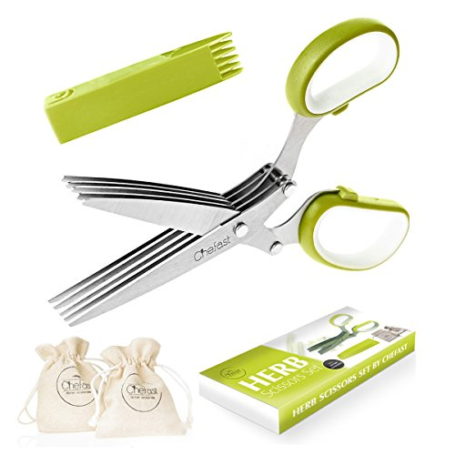 Chefast Herb Scissors Set - Multipurpose Cutting Shears with 5...
