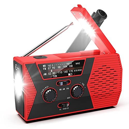 Solar Hand Crank Self Powered Emergency Radio with LED Flashlight and 2000mAh Power Bank