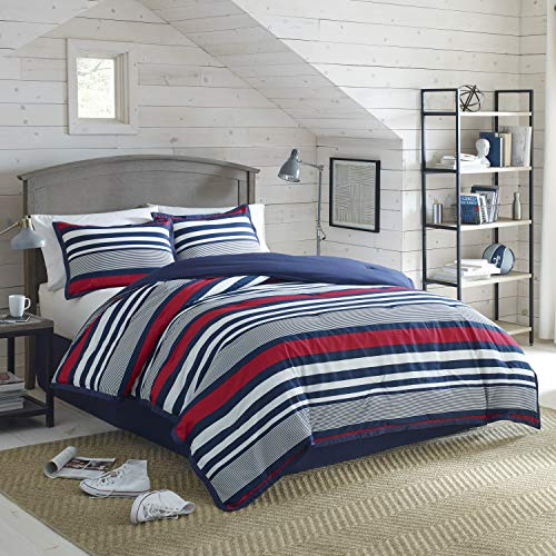 IZOD Varsity Stripe, Ultra Soft, All- Season, Light Weight, Breathable, Hotel Quality, Hypoallergenic Comforter Set- Machine Washable, Twin, Red/Navy