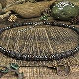 Taille 45-50cm Collier Homme perles Ø6-8mm pierres naturelles Lave Volcanique Bois Cocotier/Coco Hématite en acier inoxydable/inox couleur argent COLLILAVISS