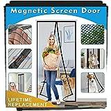 Magnetic Screen Door for Single Door, IKSTAR Double Mesh Curtain with Full Frame Hook&Loop Instant Mesh Door for Front Door and Home Outside Kids/Pets Walk Through Easily Net Size 39'x99'