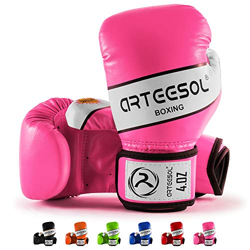 arteesol Boxhandschuhe Kinder 4oz [2er-Set]die schwere Taschen trainieren Trainingshandschuhe Boxsack Sparring Kampf/Kickboxen/Muay Thai Sportspiel