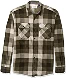 Wrangler Authentics Men's Long Sleeve Plaid Fleece Shirt, Grape Leaf Buffalo, Large