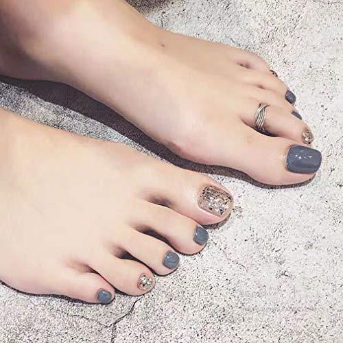 BABALAL 24pcs Acrylic Toenails Impress False Nails Short Length Toenails Sliver Shiny Sequins Full Cover Artificial Fake Toe Nails