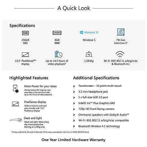 Microsoft Surface Laptop Intel Core i7 7th Gen 13.5 inch TouchscreenLaptop (8GB/256GB/Windows 10 S/Integrated Graphics/Platinum/1.283kg), 1769 8