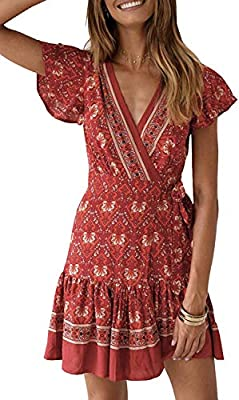 "S=US 4-6, M=US 8-10,L=US 12-14,XL=US 16,XXL=US 18 Tips:1.If you have a large chest,Choose one size up; 2.Wearing Suggest:with underwear Calling all Boho loves, you need our ""Amazing Grace Dress"" in your wardrobe.WRAP STYLE DRESS--Deep V Neck,Cap slee..."