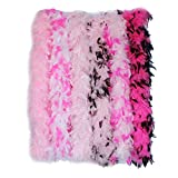 Cynthia's Feathers 6 Pieces 45 Gram Assorted Colorful Feathers Boas for Dancing Wedding Dress Up Halloween Costume Decoration (Pink Colors-4)