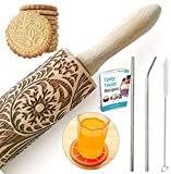 Paisley Embossed Rolling Pin 16' Engraved Rolling Pin for Baking + Cute and Lightweight Wooden Rolling Pin for Kids and Adults to Make Cookie Dough – Attractive Professional Cookie Decoration