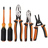 Klein Tools 94130 1000V Insulated Screwdriver Tool Set with #2 Phillips and 1/4-Inch Cabinet Slim Tips, 2 Pliers and Wire Stripper