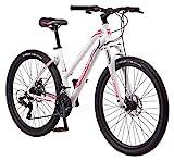 Mongoose Switchback Trail Adult Mountain Bike, 21 Speeds, 27.5-Inch Wheels, Womens Aluminum Medium Frame, White
