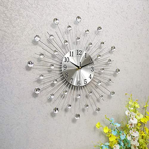 WWGZ Orologio da Parete in Metallo,Moderna Tonda Design Orologio di Diamanti,Decorazione Orologio da...