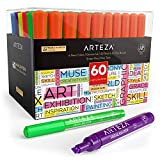 Arteza Subrayadores de colores | Pack de 60 | Marcadores fluorescentes de punta ancha y estrecha |...