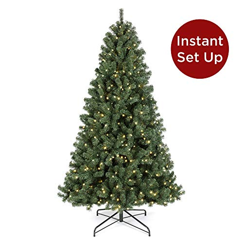 Best Choice Products 7.5ft Pre-Lit Instant Setup No Fluff Hinged Artificial Spruce Christmas Tree w/ 550 LED Lights, 1,346 Memory Steel Tips, Metal Stand