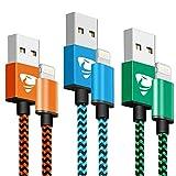 Câble iPhone [2m/Lot de 3] Lightning Chargeur Cable Certifié MFi Nylon Tressé...