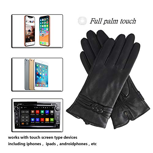 Genuine Sheepskin Leather Gloves For Women, Winter Warm Cashmere Lining Touchscreen Texting Driving Motorcycle Dress Gloves