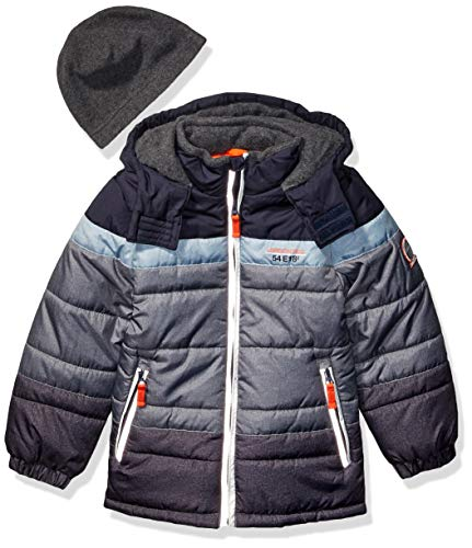 London Fog Boys' Little Color Blocked Puffer Jacket Coat with Hat,Navy Stripes Solid,4