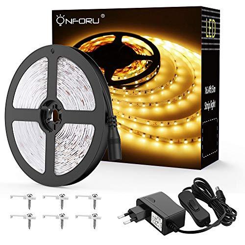 Onforu 5M LED Strip mit Netzteil, LED Streifen 300 LEDs Lichtband mit AN/AUS-Schalter 3000K Warmweiß, Selbstklebend 2835 LED Band, Innenbeleuchtung für Küche, unter Schrank, Party, Haus Deko