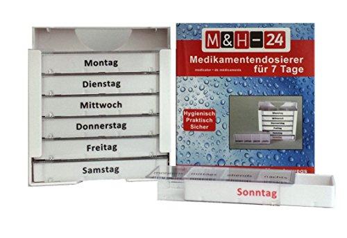 M&H-24 Pillentower Tablettenbox Pillendose für 7 Tage, Wocheneinteilung Tagesdosierer Pillen-/ Medikamentendosierer Tablettenbox 7 Tage 1 Stück